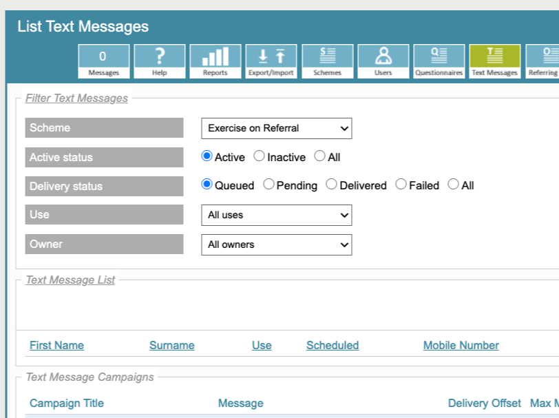 Text SMS functionality